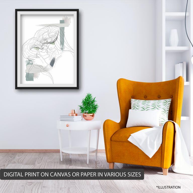 KISS ⬆️ Price 750 ₪size 50X70 CM canvas digital print without wood border stretch.