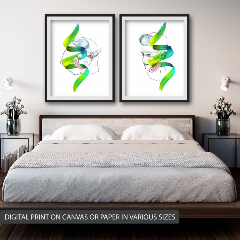 Couple posters ⬆️ Price for both 1300 ₪ size 50X70 CM canvas digital print without wood border stretch.
